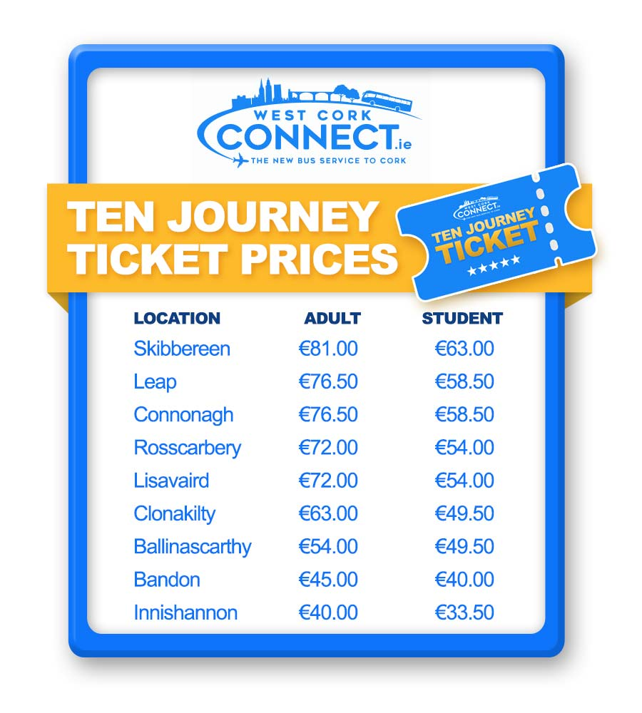 West Cork Connect 10 Journey Ticket Prices